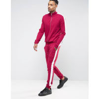 AsosSkinny Jersey Track Jumpsuit With Side Stripe In Burgundy - Red