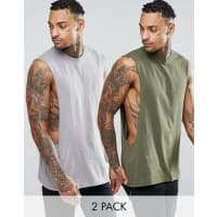 AsosSleeveless T-Shirt With Extreme Dropped Armhole 2 Pack - Multi