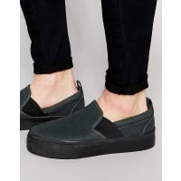 AsosSlip On Plimsolls in Black With Elastic and Thick Sole - Black