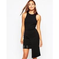 AsosSquare Eyelet Asymmetric Mini Bodycon Dress - Black