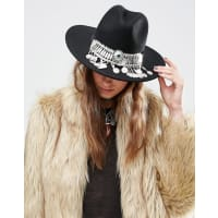 AsosStone And Coin Front Felt Fedora Hat - Black