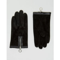 AsosSuede Gloves with Circle Zip Gloves - Black