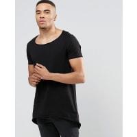 AsosSehr langes T-Shirt in Schwarz mit abgerundetem Saum - Schwarz