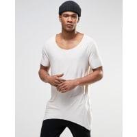 AsosT-shirt extra lunga bianco sporco con scollo rotondo grezzo e fondo appuntito - Beige