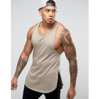 AsosSuper Longline Singlet With Step Hem And Extreme Racer Back In Beige - Beige