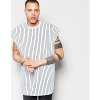 AsosSuper Oversized Sleeveless T-Shirt In Vertical Stripe In White - White