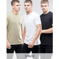 Asos3 Pack T-Shirt With Crew Neck In White/Black/Beige - Multi