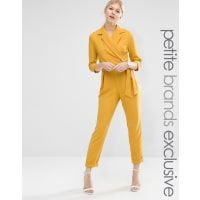 AsosTailored Jumpsuit With Wrap And Tie Belt Detail - Marigold