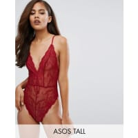 Asos TallBailey High Leg Lace Body - Red