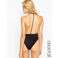 Asos TallT Back High Leg Plunge Swimsuit - Black