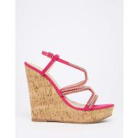 AsosTERRIFIC Embellished Wedge Sandals - Pink
