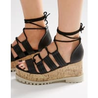 AsosTOUCHE Lace Up Wedge Sandals