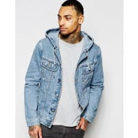 AsosGiacca di jeans lavaggio medio con cappuccio - Blu