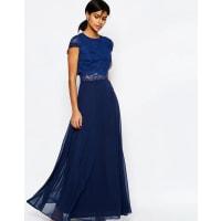 AsosCrop Top Lace Maxi Dress - Navy