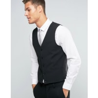 AsosWEDDING Waistcoat with Square Hem in Black - Black