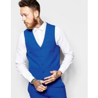 AsosWaistcoat with Square Hem in Blue - Blue
