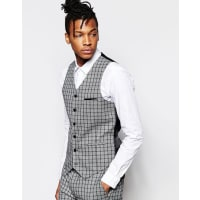 AsosWaistcoat In Check In Grey - Grey