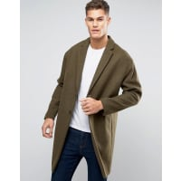 AsosWool Mix Overcoat with Drop Shoulder In Army Green - Green