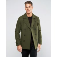 AsosWool Mix Peacoat In Khaki - Green