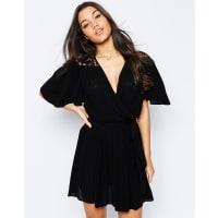 AsosWrap Front Dress with Lace Detail - Black