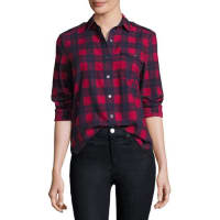 ATM Anthony Thomas MelilloLong-Sleeve Flannel Plaid Button-Front Blouse, Hollyberry/Midnight