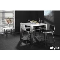 AtyliaTable de bar design Scarla blanc/acier brosse ATYLIA
