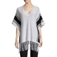 Autumn CashmereStripe Border Fringe Trim Poncho