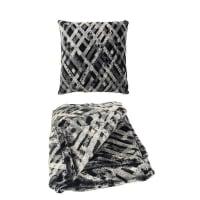 Aviva Stanoff DesignFaux Fur Pillow and Throw SetTartan