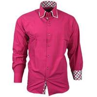 AvroniHerren Hemd Blau Pink Rosa Langarm Knöpfe Kentkragen A19020 Avroni, Größe:M;Farbe:Pink;Model