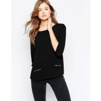 b.youngBoxy Top With Front Zips - Black