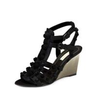 BalenciagaStudded Caged Wedge Sandal, Noir