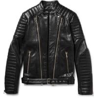 BalmainQuilted Textured-leather Biker Jacket - Black