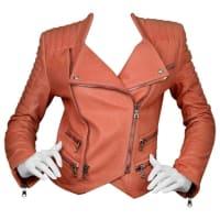 BalmainSalmon Padded Leather Moto Jacket Sz Fr36