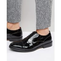 Base LondonXXI Noel Leather Brogue Shoes - Black