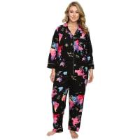 BedHeadPlus Size Long Sleeve Classic Pajama Set (Bon Voyage) Womens Pajama Sets