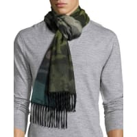 Begg & CoNuance Camouflage Cashmere Scarf w/Fringe, Green