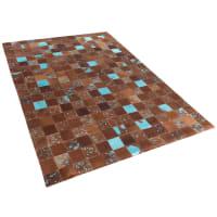 BelianiTapijt - leer - bruin/blauw - 160x230 - ALIAGA