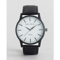 BellfieldBlack Watch with Round White Dial - Black