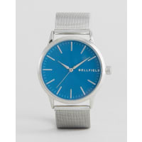 BellfieldSilver Watch with Round Blue Dial - Gold