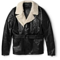 BelstaffFalmouth Shearling-trimmed Leather Jacket - Black