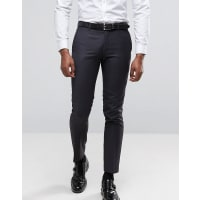 Ben ShermanSlim Fit Suit Trousers in Charcoal Small Weave - Grey