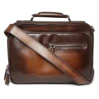 BerlutiGloria Polished-leather Briefcase - Brown