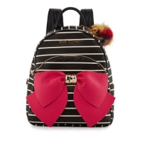 Betsey JohnsonBow Striped Faux-Leather Backpack, Black