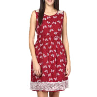 Bhama CoutureMaroon Polyester Printed Dress