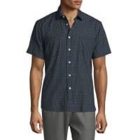 Billy ReidCheck Short-Sleeve Woven Shirt, Navy