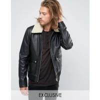Black PhoenixFlight Jacket Shearling Collar - Black