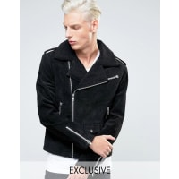 BlackDustLeather Biker Jacket With Borg Collar - Black