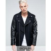 BlackDustWool Biker Jacket With Leather Sleeves - Black