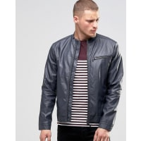 BlendFaux Leather Biker Jacket Ebony Grey - Grey