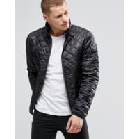 BlendQuilted Jacket Nylon Diamond Stitch in Black - Black